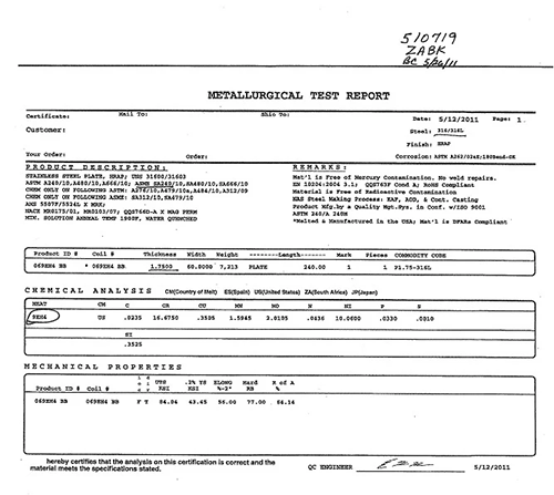 mill test report sample